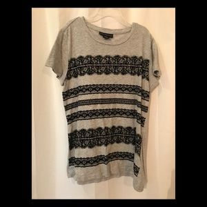 Metaphor gray black velvet lace short sleeve tee